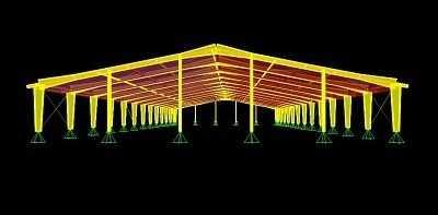 تصویر سوله مدلسازی شده در نرم افزار SAP